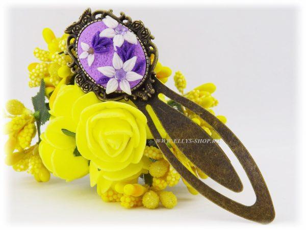 Semn de carte handmade cu lut polimeric Delicate Flowers