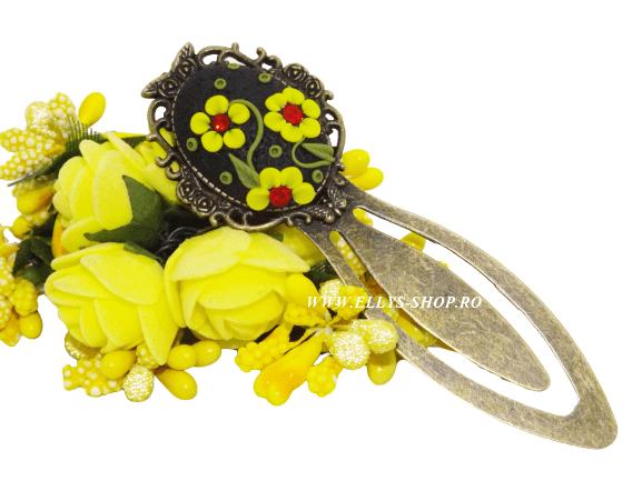 Semn de carte handmade flori galbene