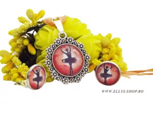 Set bijuterii handmade balerina pe fond corai