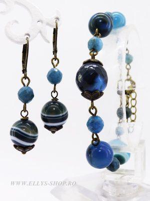 Set bijuterii cercei si bratara pietre semipretioase agate