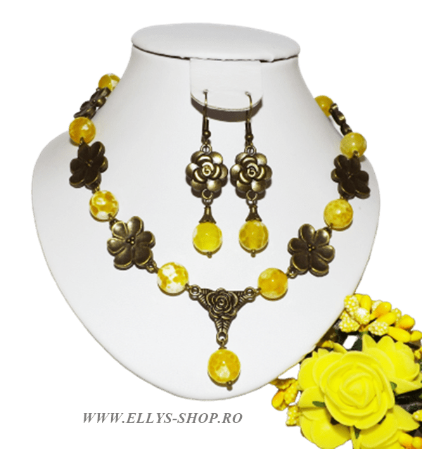 Set bijuterii handmade pietre semipretioase agate