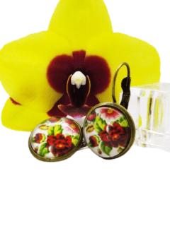 bijuterii handmade motive traditionale- cercei trandafir