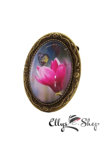 Brosa handmade magnolie si fluturas
