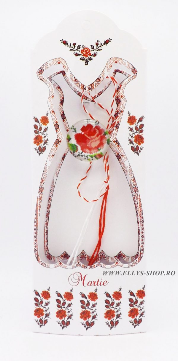 Brosa martisor cusatura traditionala trandafir