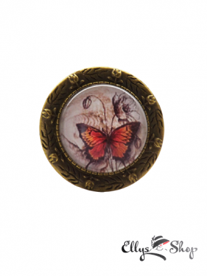 Brosa mac si fluture handmade