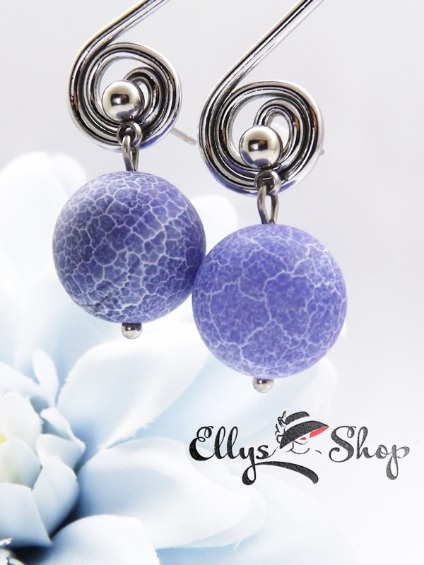 Cercei handmade agate frosted albastre si inox