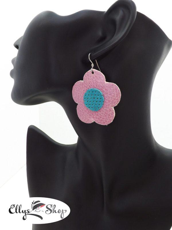 Cercei handmade piele flori mari cu roz prafuit si turcoaz cod 1618