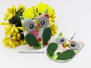 Cercei handmade bufnita aripi verzi