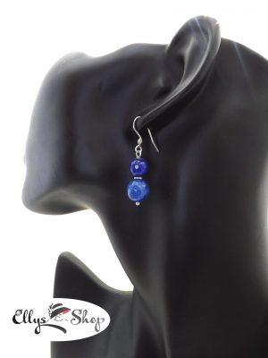 Cercei handmade pietre semipretioase jad albastru si inox