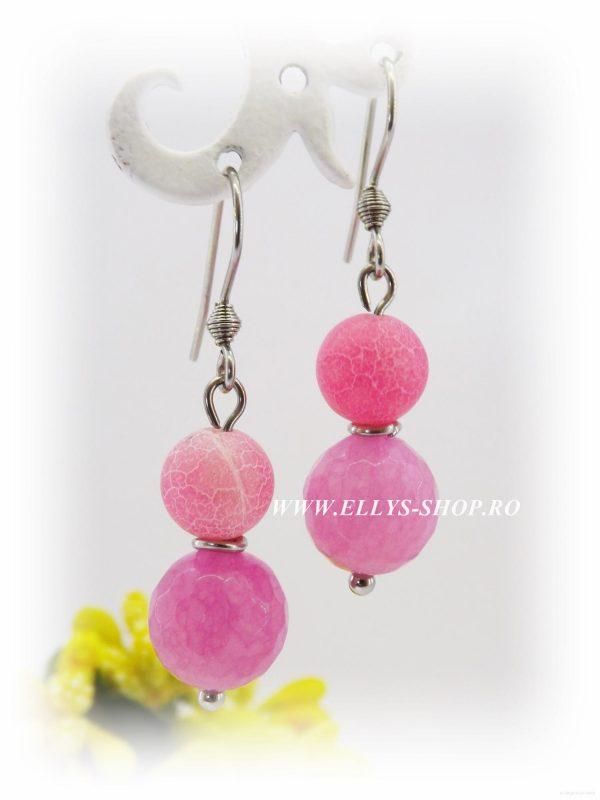 cercei handmade jad si agate roz