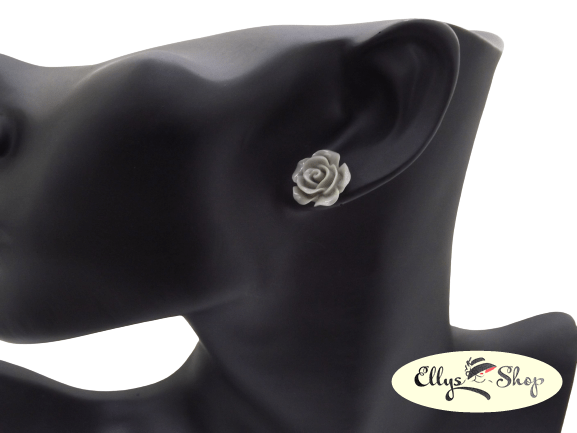 Cercei handmade trandafir gri detaliu