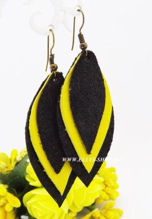 Cercei handmade piele naturala galben negru