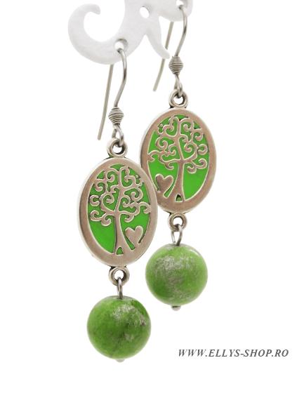 Cercei handmade cu pietre semiprtioase jad