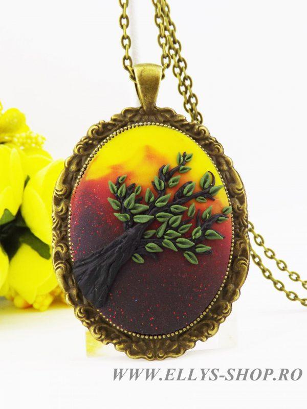 Bijuterii lut polimeric handmade colier cu copacul vietii