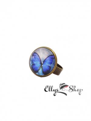 inel handmade fluture albastru