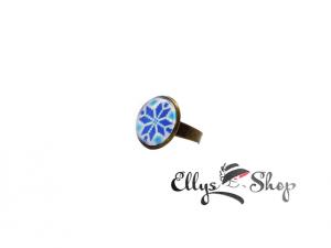 Inel handmade motiv traditional albastru