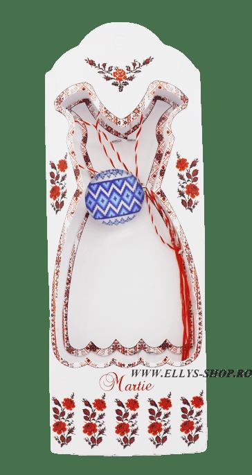 Martisoare traditionale forme geometrice alb albastru