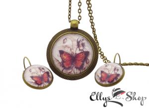 Set bijuterii handmade colier si cercei mac si fluture