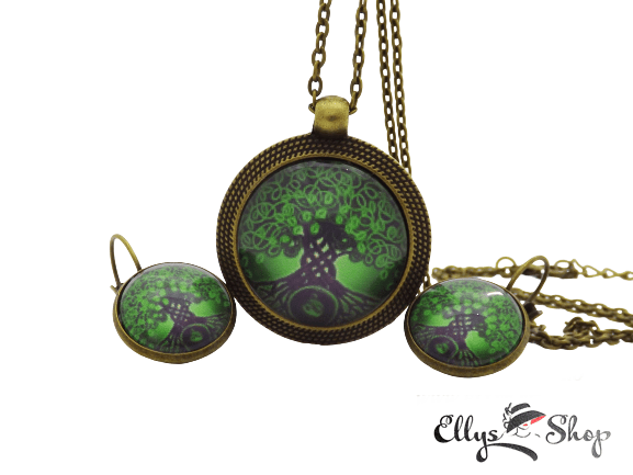 Set bijuterii handmade copacul vietii verde