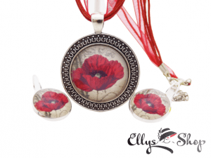 Set bijuterii handmade cu mac