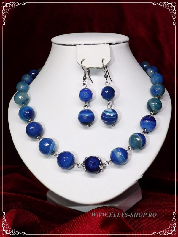 Set bijuterii handmade pietre semipretioase agate albaste