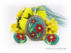 Set bijuterii handmade flori