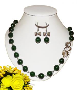 Set bijuterii handmade pietre semipretioase jad verde