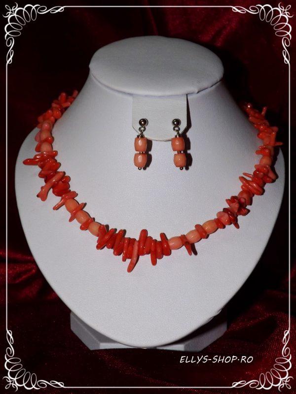 Set bijuterii handmade pietre coral