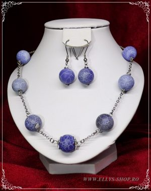 Set bijuterii agate albastre