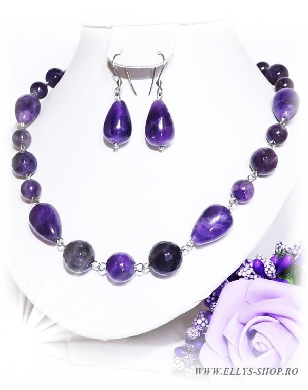 Set bijuterii pietre semipretioase ametist