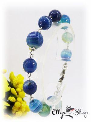 Bratara handmade pietre semipretioase agate albastre