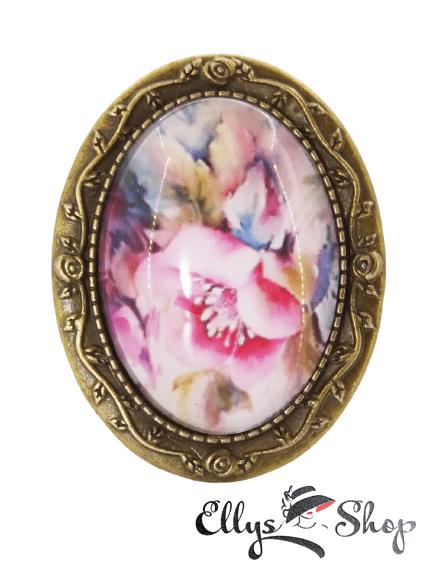 Brosa handmade cu imagine vintage magnolie