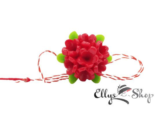 Brosa martisor elegant buchet de flori rosii