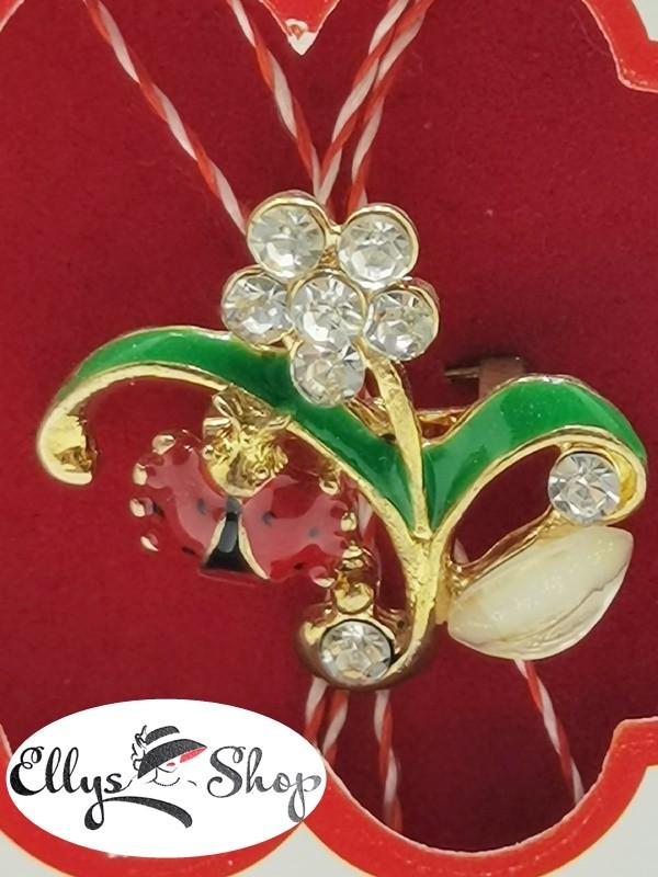 Brosa martisor elegant buburuza pe floare cu strasuri cod 2794