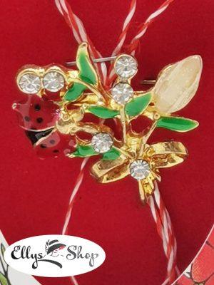 Brosa martisor elegant buburuza pe flori cu strasuri cod 2792