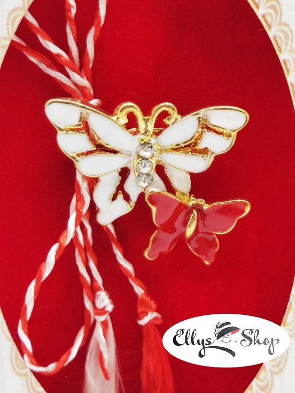 Brosa martisor fluturi alb rosu