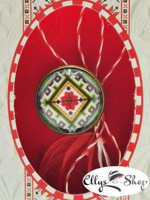Brosa martisor handmade motiv traditional cu floare cod 2796