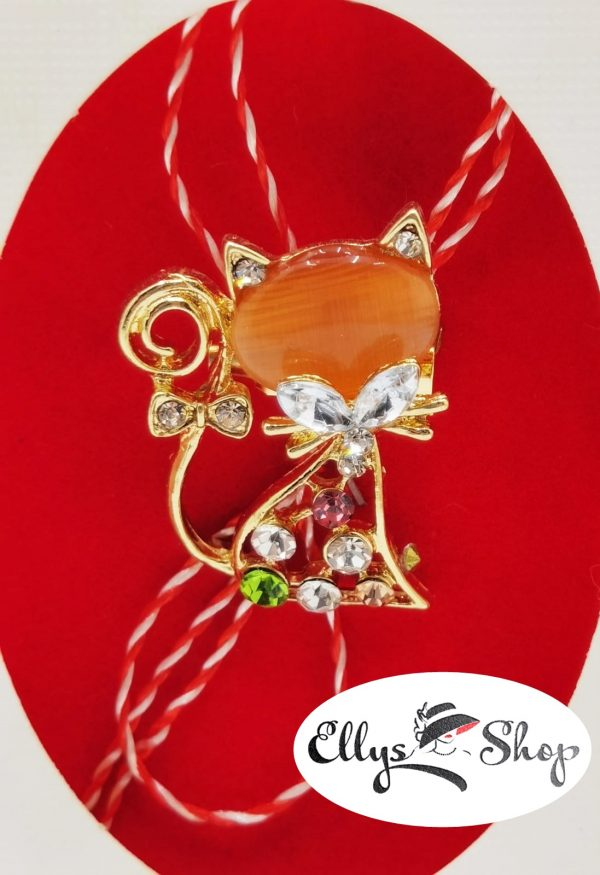 Brosa martisor pisica cu piatra portocalie si strasuri colorate