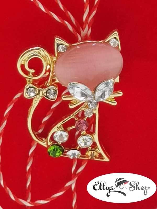 Brosa martisor pisica piatra roz si strasuri