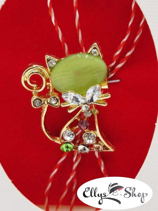 Brosa martisor pisica cu piatra verde si strasuri