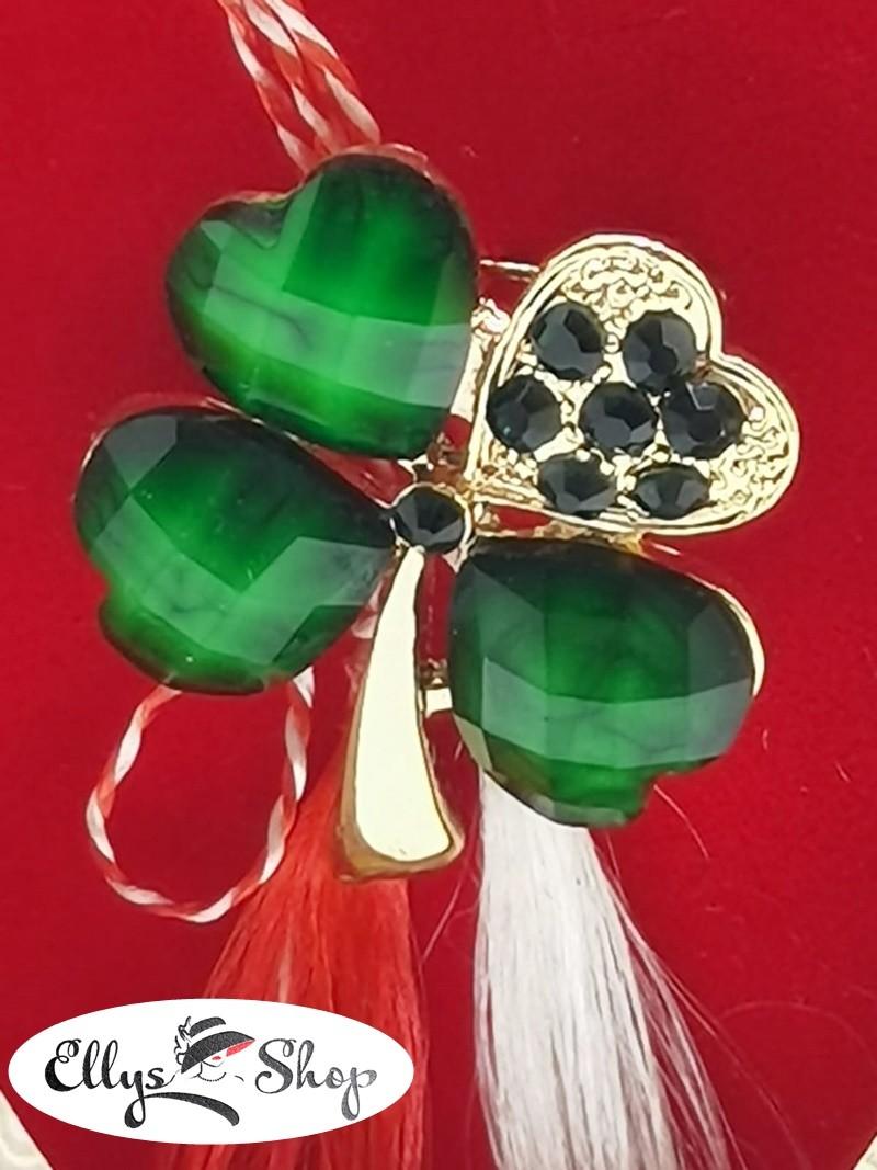 Brosa martisor trifoi cu strasuri verde smarald