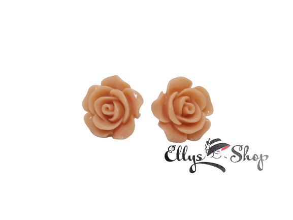 Cercei handmade trandafir detaliu