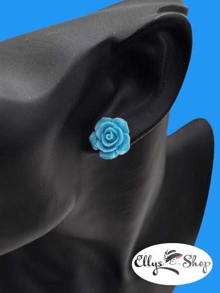Cercei trandafir albastri dimensiune medie