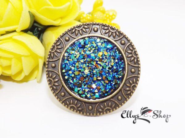 Inel handmade rasina druzy effect turcoaz