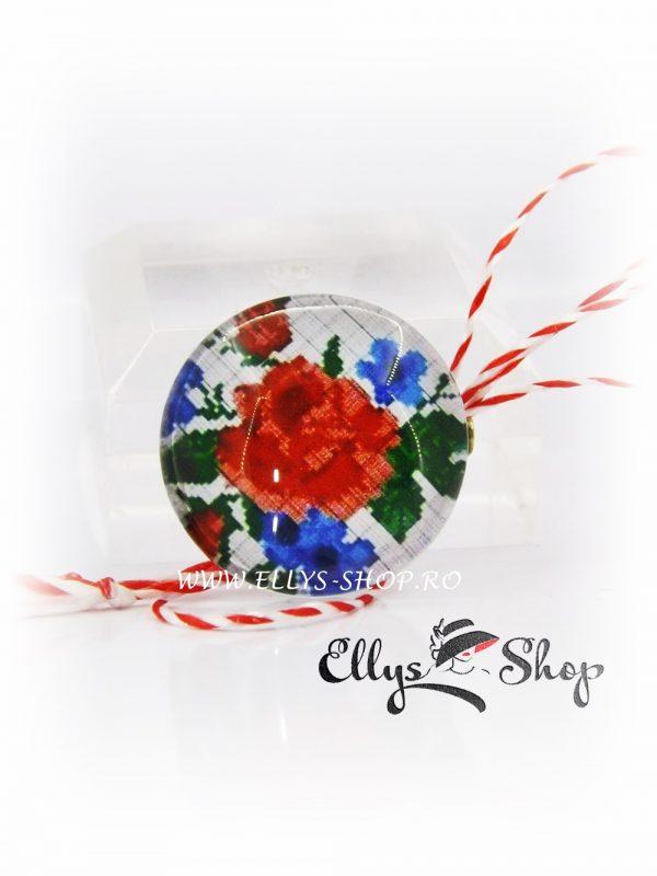 Martisoare motive traditionale cod 1432 trandafir si flori de nu ma uita