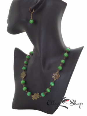 Set bijuterii handmade pietre semipretioase ochi de pisica verde