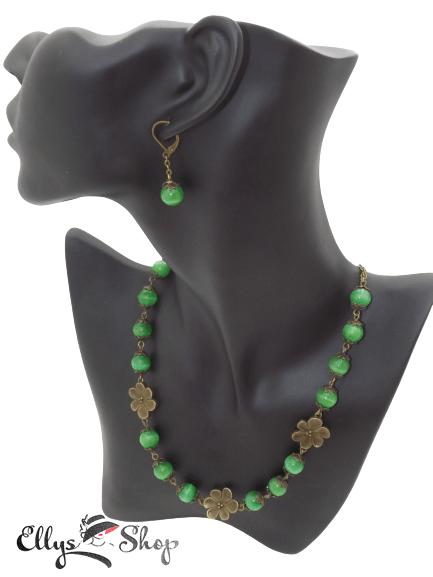 Set bijuterii handmade pietre semipretioase ochi de pisica verde colier si cercei