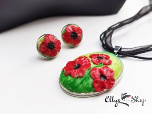 Set bijuterii handmade unicat peisaj maci rosii