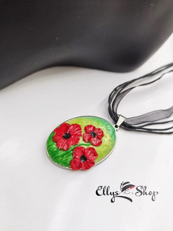 Set bijuterii handmade unicat peisaj maci rosii detaliu colier