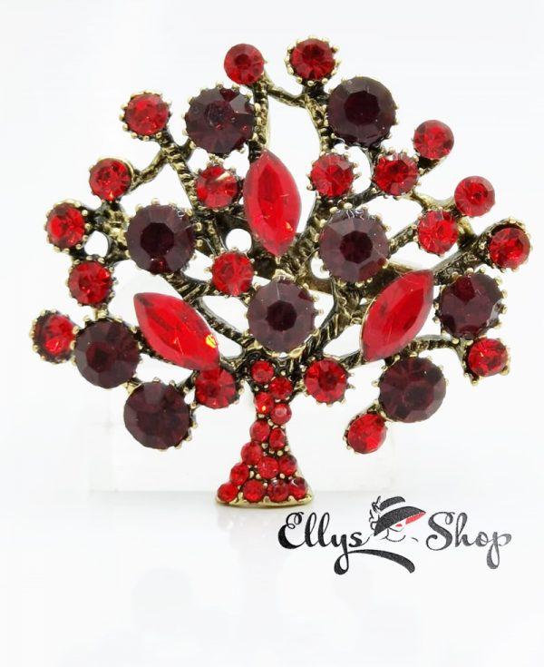 Brosa copac cu strasuri rosii